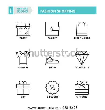 Flat symbols about fashion shopping. Thin line icons set. - stock vector
