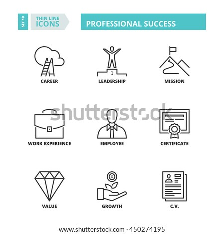 Flat symbols about professional success. Thin line icons set. - stock vector