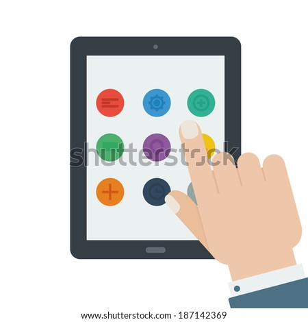 flat tablet app device hand touch screen isolated