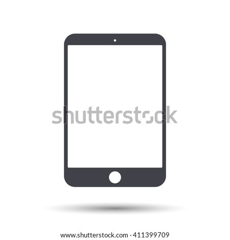 Flat  tablet  icon isolated with a shadow. Vector illustration. EPS 10 - stock vector