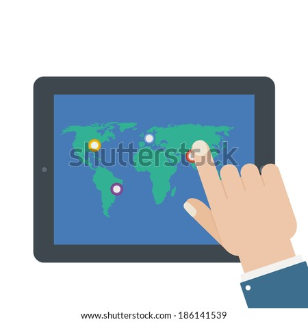 flat tablet touch screen isolated background