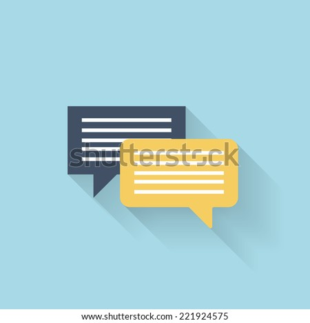 Flat talking icon for web. Speech bubbles - stock vector