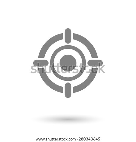 flat target icon background. with shadow - stock vector