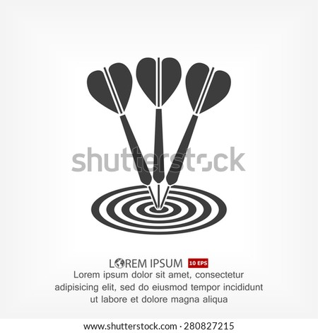 flat target with dart. icon. Vector Eps 10 - stock vector