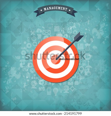Flat target with web application icons. Management concept background. Teamwork and business aims. Old vintage background. - stock vector