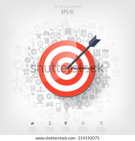 Flat target with web application icons. Management concept background. Teamwork and business aims. - stock vector