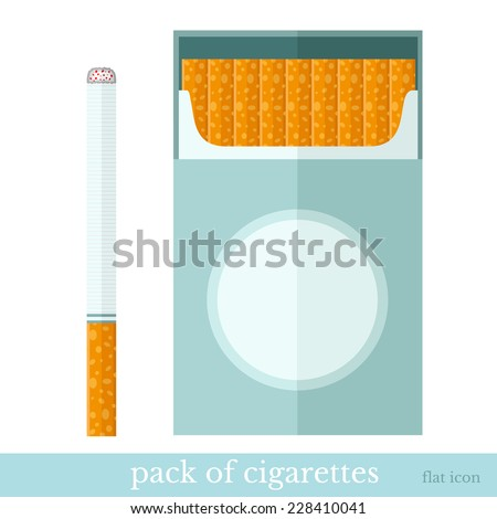 flat template open pack of cigarettes and one cigarette near - stock vector
