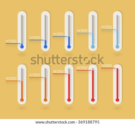 Flat thermometer icons collection presenting goals or weather indication - stock vector
