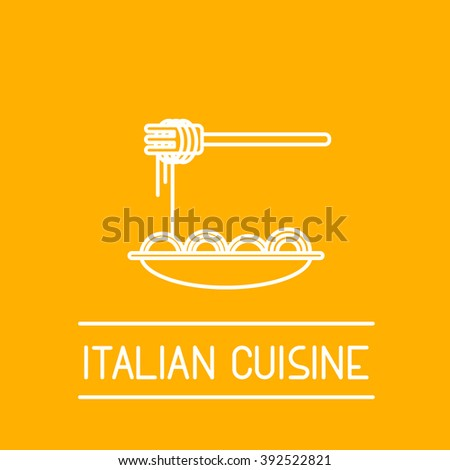 Flat thin line design icon illustration of italian cuisine topic include plate with pasta. Perfect for web, print, infographic or presentation icon, logotype, logo or illustration. - stock vector