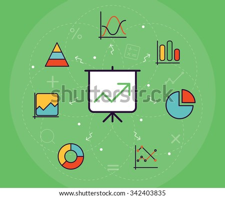 Flat thin line design of business graph statistics, big data analysis presentation, global seo analytics, financial research report, market stats. Modern vector illustration concept, isolated - stock vector