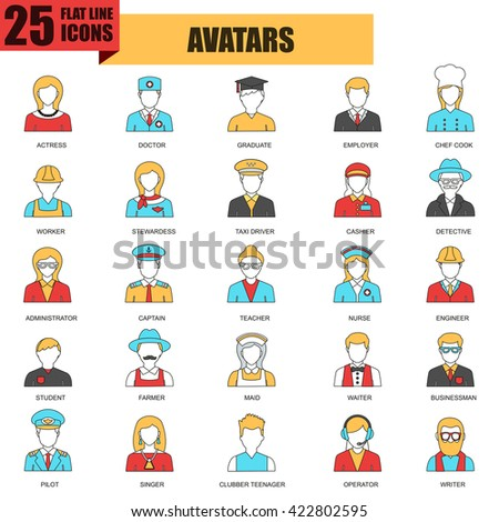Flat thin line icons collection of people avatars for profile page, social network, social media, different age man and woman characters portfolio. Avatars logo vector concept. - stock vector