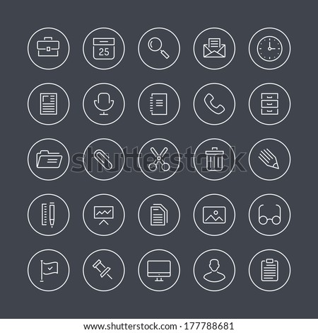 Flat thin line icons modern design style illustration vector set of office equipment, objects, tools and other elements using people in their work. Isolated on white background. - stock vector
