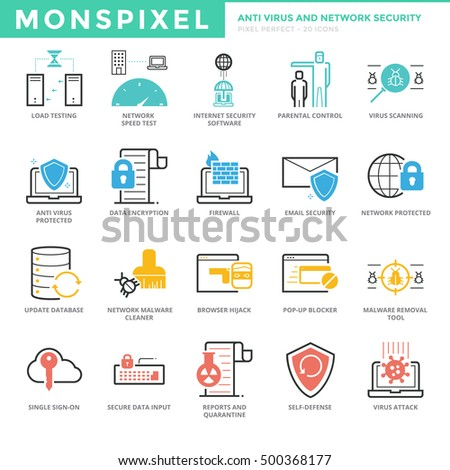 Flat thin line icons set anti stock vector royalty free 500368177 flat thin line icons set of anti virus and network security for web development pixel ccuart Image collections