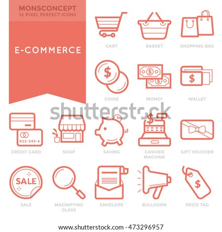 Flat thin line icons set ecommerce stock vector 2018 473296957 flat thin line icons set of ecommerce for mobile application infographics logo and websites altavistaventures Images