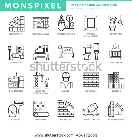 Flat Thin Line Icons Set Of Interior Design And Building Pixel Perfect Simple