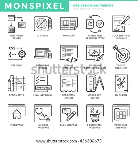Flat thin line Icons set of Web Design and Websites. Pixel Perfect Icons. Simple mono linear pictogram pack stroke vector logo concept for web graphics - stock vector