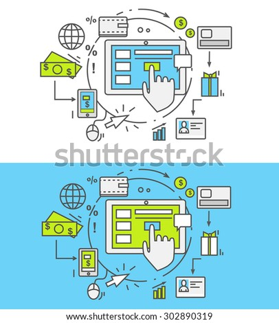 Flat thin, lines, outline icons of pay per click. Creative design elements for websites, mobile apps and printed materials. Pay per click internet advertising model when the ad is clicked - stock vector