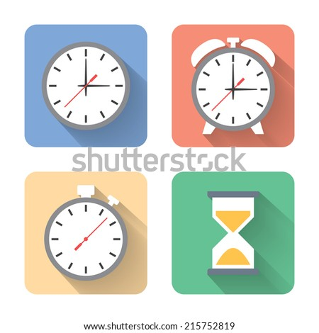 Flat time icons. Vector illustration - stock vector