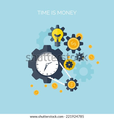 Flat time is money concept background. Money saving. Time management - stock vector