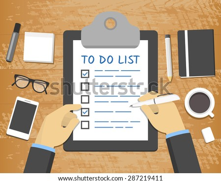 Flat 'To Do List' concept - hands over clipboard on top of wooden desk - stock vector