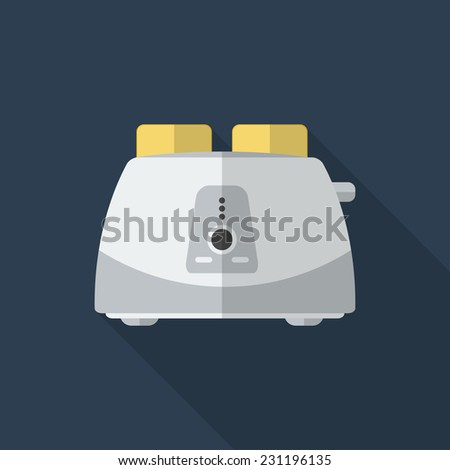 Flat toaster with long shadow. Vector icon, illustration. Modern design - stock vector