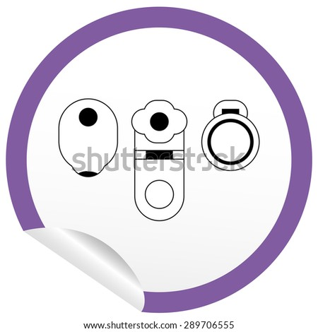 Flat toilet, bidet, toilet bowl icon on sticker for floor plan outline. Line editable EPS10 vector furniture illustration. View from above