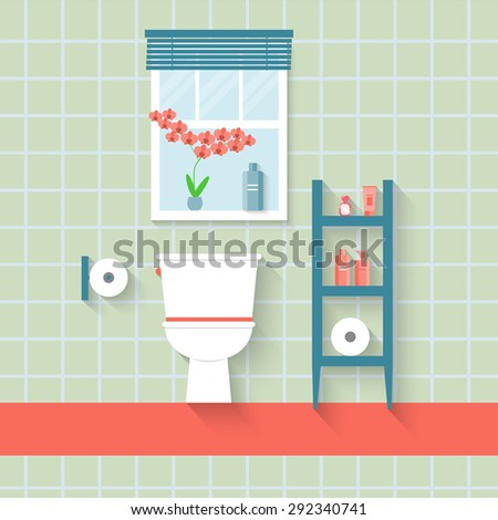 flat toilet with window and orchid. vector illustration - stock vector