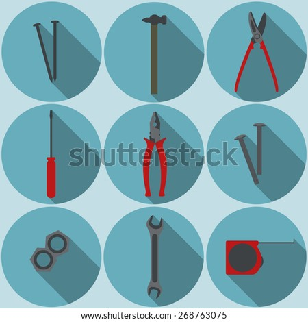 flat tools icons  - stock vector