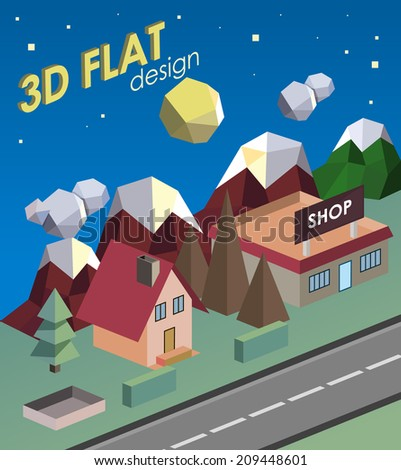 flat town in 3d. low polygon - stock vector