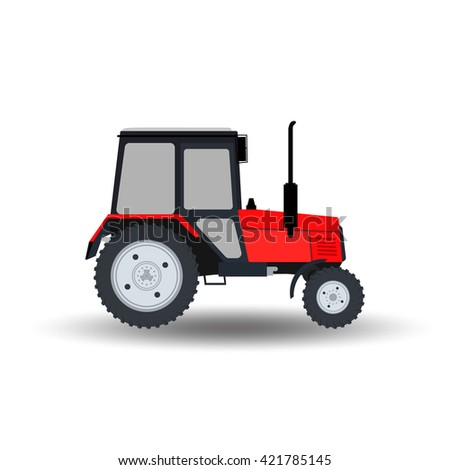 Flat Tractor icon on white background - stock vector