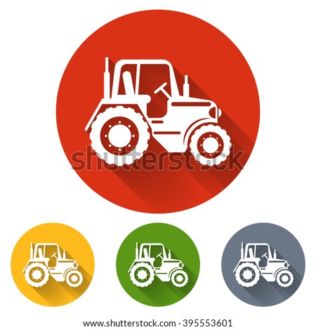 Flat tractor icon. Tractor transport, vehicle tractor, agriculture machinery tractor, farming tractor illustration - stock vector