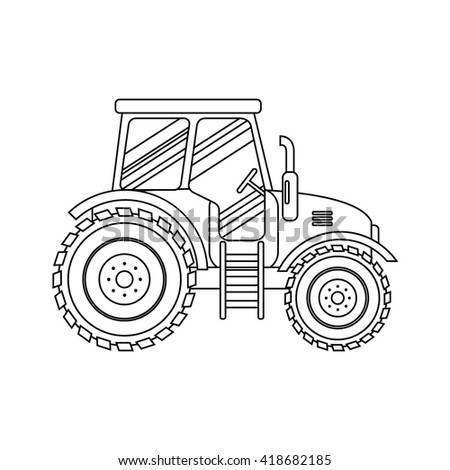 Flat tractor on white background. Tractor icon - vector illustration. Agricultural tractor - transport for farm in flat style. Farm tractor icon. Tractor icon vector illustration. - stock vector