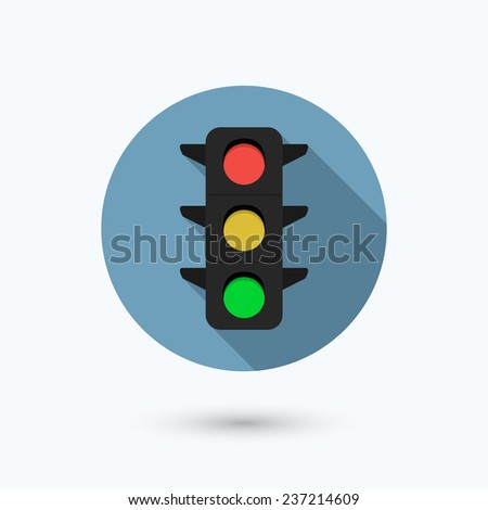 Flat traffic light icon with long shadow effect. Isolated on white background. Vector illustration, eps 10. - stock vector