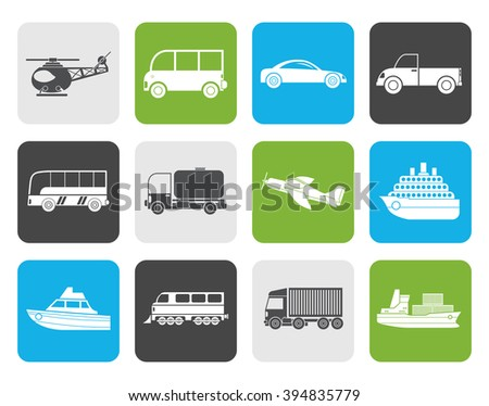 Flat Travel and transportation icons - vector icon set - stock vector