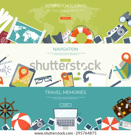Flat travel background. Summer holidays, vacation. Plane, boat, car  traveling. Tourism, trip  and journey. - stock vector