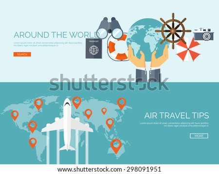 Flat travel background.  Summer holidays. Vacation. Sea voyage. Air traveling.  Luggage and tickets. - stock vector