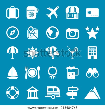 Flat travel icons vector collection with of web Isolated on blue background.  - stock vector