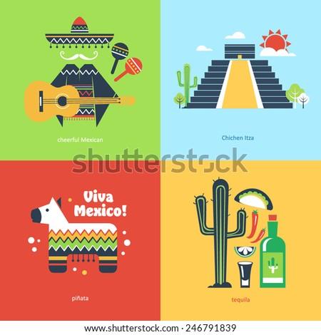 Flat travel Mexico - stock vector