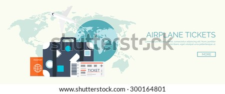 Flat traveling background. Airplane, Earth globe, passport,tickets and travel bag. Summer holidays, vacation. - stock vector