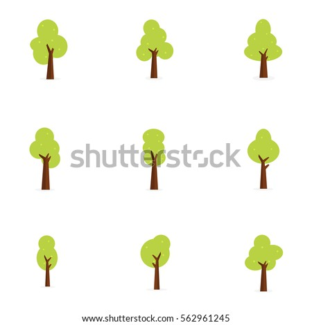 Flat trees set vector art illustration collection