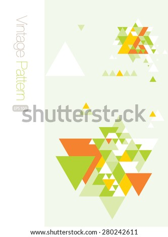 Flat Triangle Pattern in Green and Orange - stock vector