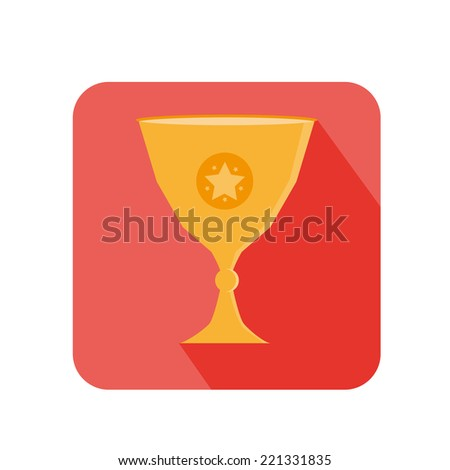 Flat Trophy For Complete Goal And Commerce In Red Square With Long Shadow