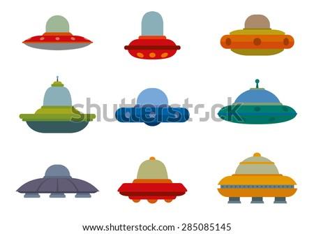 Flat Ufo Spaceships set, vector - stock vector