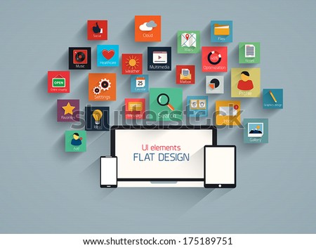 Flat ui design element and icion set for web and mobile. Vector - stock vector