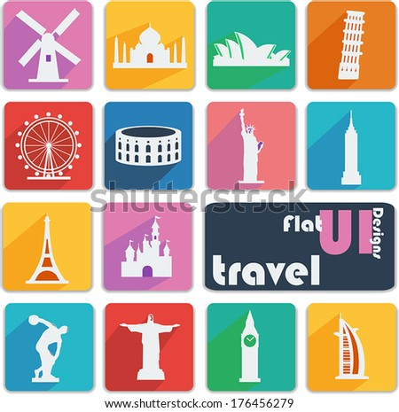 Flat ui design icons. Travel. - stock vector