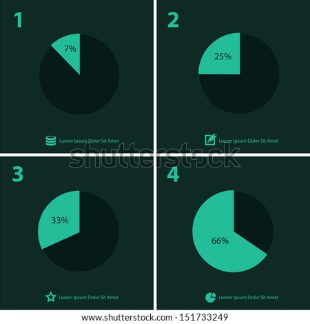 Flat ui design infographic template with diagrams and statistics - stock vector