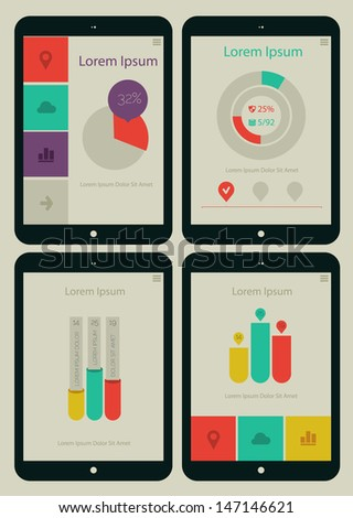 Flat ui design infographic template with steps and statistics - stock vector