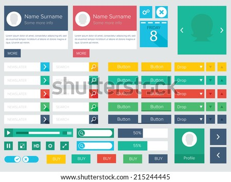 Flat ui kit design elements for website with profile box, icons, buttons, player and calendar / Flat ui kit design elements for webdesign - stock vector