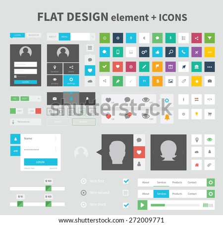 Flat ui kit pack design with icons for webdesign and mobile design, pure and clean flat design. - stock vector