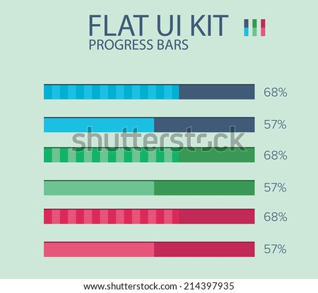 Flat UI KIT progress bars design template in three colors with percentage. It could be used for loading or progress in application / Flat UI KIT progress bars design template - stock vector
